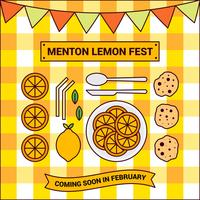 Cute Menton France Lemon Festival Vector