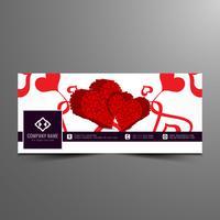 Modèle de bannière abstraite joyeuse Saint Valentin facebook timeline