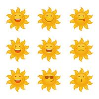 Sun Clipart Emoticon Set Vector Collection