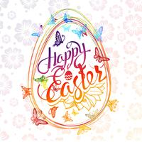Inscription Happy Easter around watercolor multicolored butterflies