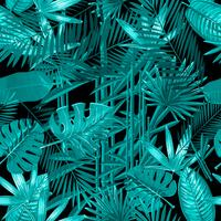 Seamless pattern with tropical palm leaves on black background. vector