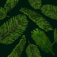 Seamless pattern with tropical palm leaves on black background collected from letters