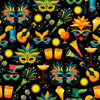 Carnaval brasileiro. Padrão sem emenda de vetor.