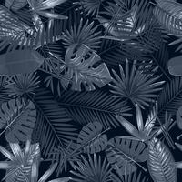 Seamless pattern with tropical palm leaves on black background