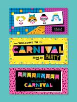 Carnival templates in Memphis style.