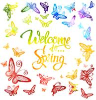 Inscription Welcome to spring around watercolor multicolored butterflies isolated on white background.