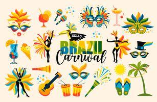Carnaval brasileiro. Conjunto de ícones. Vetor.