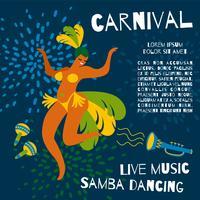Brasilien karneval. Vektor mall för karneval koncept
