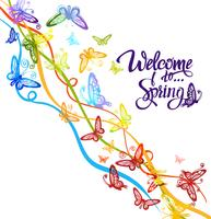 Inscription Welcome to spring around watercolor multicolored butterflies