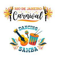 Carnaval brasileiro. Grande conjunto de emblemas de vetor