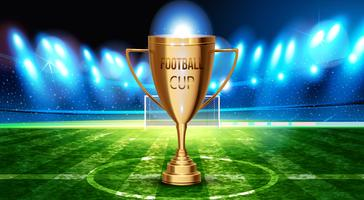 Football cup in the soccer arena on a background of grass field