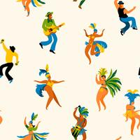 Brazil carnival. Seamless pattern with funny dancing men and women in bright costumes. vector