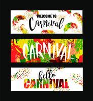 Carnaval. Bandeiras festivas brilhantes que tendem o estilo abstrato.