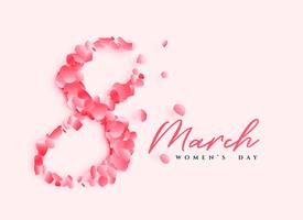 beautiful women's day poster design with number 8 written with rose petals
