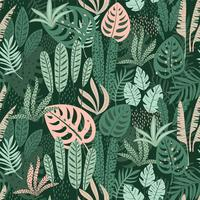Abstrata sem costura padrão com folhas tropicais. Mão desenhar textura.