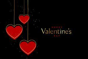 röda och guld valentiner dag hjärtan på svart bakgrund