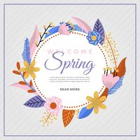 Flat Colorful Spring Flower Vector Background
