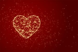 red background with heart made with sparkles