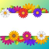 Colorful Spring Background With Beautiful Flowers Elements