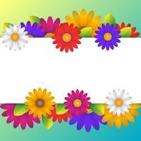 Fondo colorido de primavera con elementos de hermosas flores