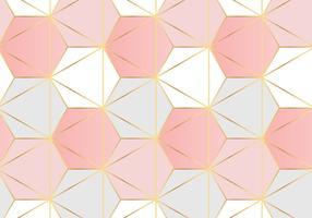 Motif Hexagonal Fond Rose Doré