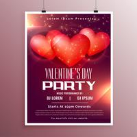 Party-Feier-Flyer zum Valentinstag