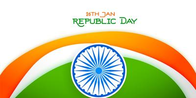 26 january happy republic day tricolor banner