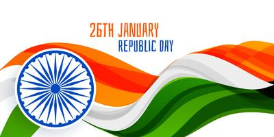 26th january republic day wavy flag banner concept