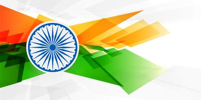 abstract indian flag in geometric shape style background