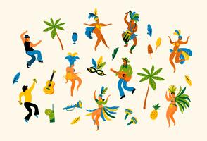 Illustration of funny dancing men and women in bright costumes