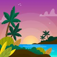 Flat Tropical Ocean Vector Background