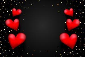 red 3d hearts with golden confetti on black background with text space