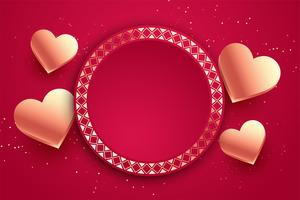 love hearts valentines day card with text space
