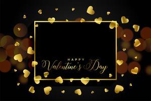 Marco de corazones de oro con espacio de texto para el día de San Valentín