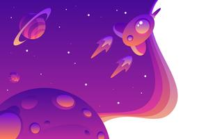 Galaxy Background Rocket Flying Vector