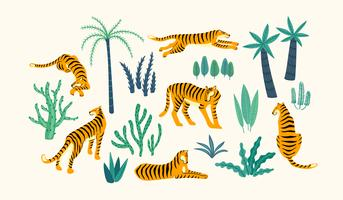 Vestor set of tigers and tropical leaves. vector
