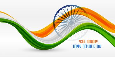 wavy indian flag design for republic day
