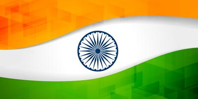 indian flag banner with geometric pattern