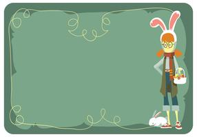 Cute Girl With Easter Egg Basket And Bunny Hat Costum Vector