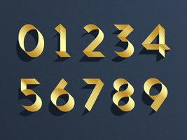 Gold Ribbon Numbers Vector Set