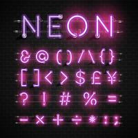 High detailed neon font set, vector illustration