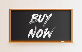 High detailed blackboard with 'BUY NOW' title, vector illustration