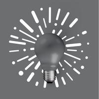 Realistische steen lightbulb met abstracte achtergrond, vectorillustratie