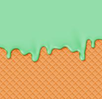 Waffle realista com creme de fusão nele, ilustração vetorial