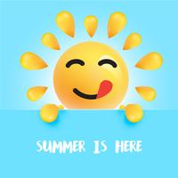"Funny sun-smiley with the title ""summer is here"""