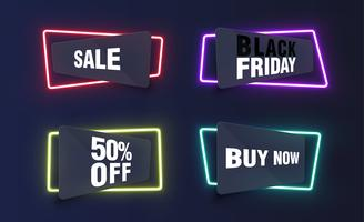 Colorful neon templates for websites, vector illustration