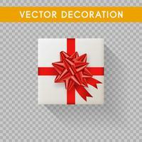 Caja de regalo realista vista superior. Cajas de regalo sin fondo. Ilustración vectorial
