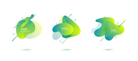 Dynamisch gekleurde grafische elementen. Gradiënt abstracte banners met vloeiende vloeibare vormen. Sjabloon voor het ontwerpen van een logo, poster of presentatie. Vector illustratie.