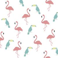 Trendy pastel flamingo and toucan seamless pattern background