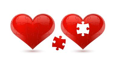 Puzzle heart. Vector illustration